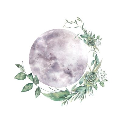 Sticker Watercolor moon and floral wreath. Natural illustration for logo, tattoo, banner, sticker. Isolated art on white background