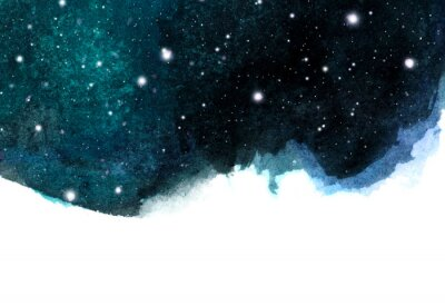 Sticker Watercolor night sky background with stars. cosmic layout with space for text.