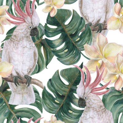 Sticker Watercolor painting seamless pattern with tropical deliciosa leaves, plumeria flowers and cockatoo