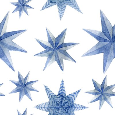 Sticker Watercolor pattern of Christmas blue stars decoration elements. Hand-drawn illustration on the white background