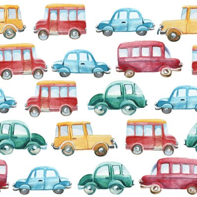Sticker watercolor pattern of different cars