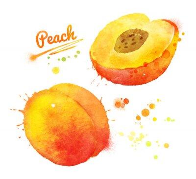 Sticker Watercolor peach.