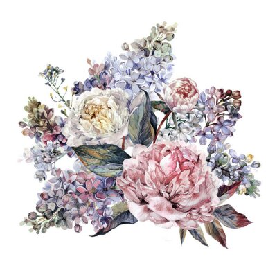 Sticker Watercolor Peonies and Lilac Bouquet