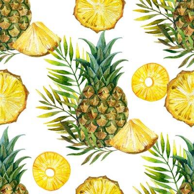 Sticker watercolor pineapple seamless pattern