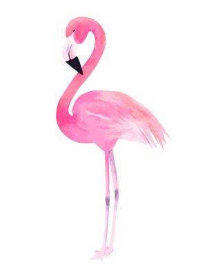 Sticker Watercolor pink flamingo. Vector illustration