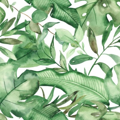 Sticker Watercolor seamless pattern green tropical leaves