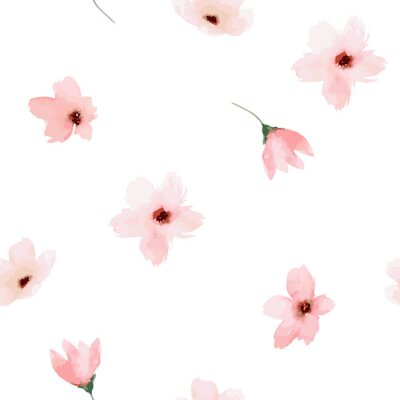 Sticker Watercolor seamless pattern. Painted flowers design