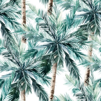 Sticker Watercolor seamless pattern. Summer tropical palm trees background. Jungle watercolour print