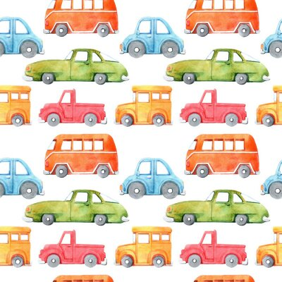 Sticker Watercolor seamless pattern with cartoon car. Funny cartoon image. Travel conception. Hand painted retro car pattern. Watercolor vintage white background. . Multicolor car texture.