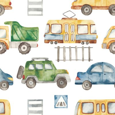 Sticker Watercolor seamless pattern with urban cartoon cute transport. Texture for boyish design, birthday, wallpaper, scrapbooking, prints, clothes, fabrics, textiles, packaging.