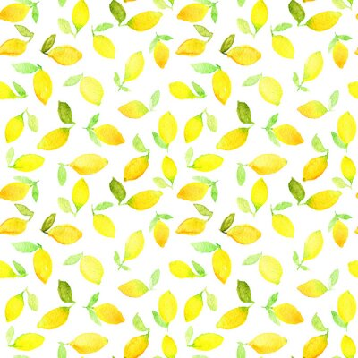 Sticker Watercolor seamless pattern with yellow lemons. Can be used for wrapping paper, background of birthday, mother's day and any holidays.