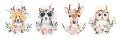 Sticker Watercolor set of forest cartoon isolated cute baby fox, deer, raccoon and owl animal with flowers. Nursery woodland illustration. Bohemian boho drawing for nursery poster, pattern