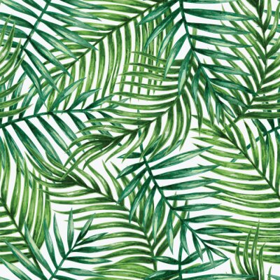 Sticker Watercolor tropical palm leaves seamless pattern. Vector illustration.