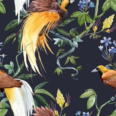 Sticker Watercolor tropical seamless pattern