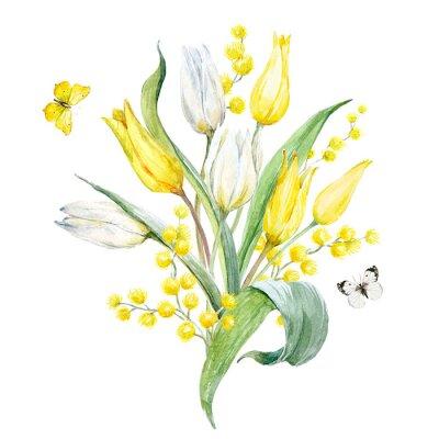 Sticker Watercolor tulip composition