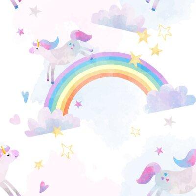 Sticker Watercolor unicorn vector pattern