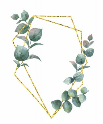 Sticker Watercolor vector composition from the branches of eucalyptus and gold geometric frame.
