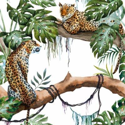 Sticker Watercolor vector leopard pattern