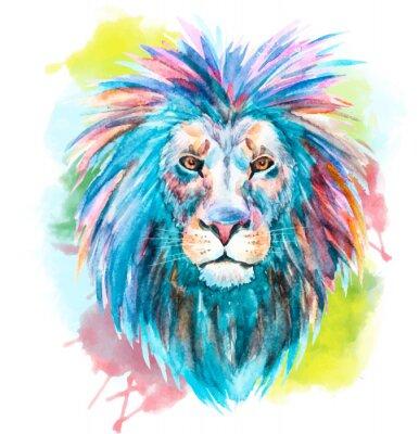 Sticker Watercolor vector lion