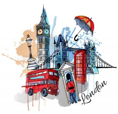 Sticker watercolor vector London background