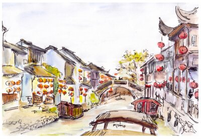 Sticker Watercolor - water canal in old town in China. Red lanterns.