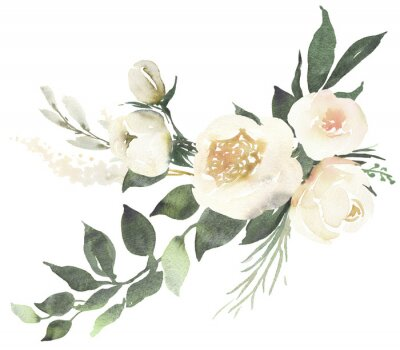 Sticker Watercolor wedding floral bouquet composition with white roses and eucalyptus