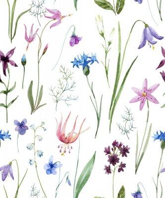 Sticker Watercolor wild flowers pattern