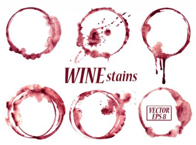Sticker Watercolor wine stains icons