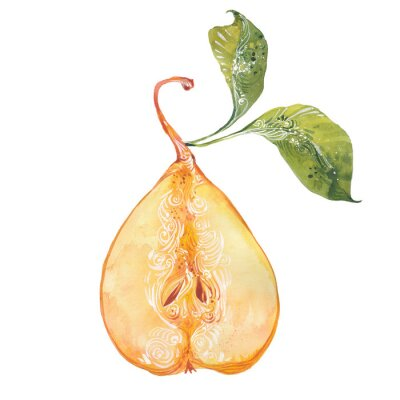 Sticker watercolor yellow pear