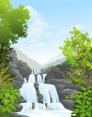 Sticker Waterfall in Tropical Rain Forest