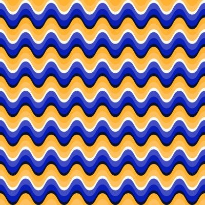 Sticker Wavy seamless pattern with optical illusion of movement. Swatch is attached