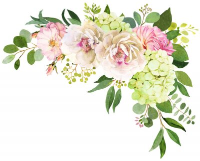 Sticker Wedding bouquet. Peony, Hydrangea and rose flowers watercolor illustrations