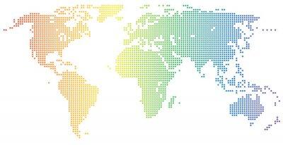 Sticker Weltkarte - gepunktet in den Regenbogenfarben