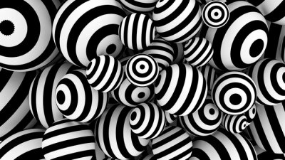 Sticker White abstract background with balls and black lines. 3d illustration, 3d rendering.