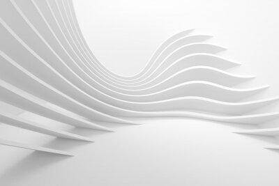 Sticker White Architecture Circular Background. Modern Building Design
