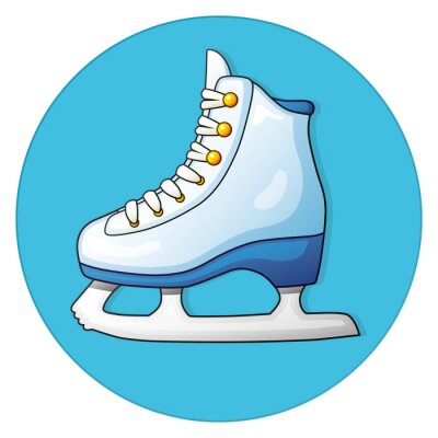 Sticker White ice skate on a blue background, round icon.