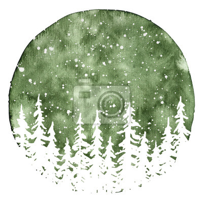 Sticker White silhouettes of pine trees in in snow. Watercolor Christmas and New Year illustration