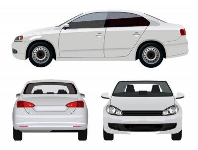 Sticker White Vehicle - Sedan Car from three angles