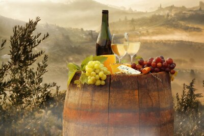 Sticker White wine with barrel on vineyard in Chianti, Tuscany, Italy
