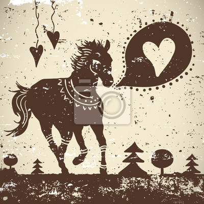 Sticker Wild animal grungy background with horse