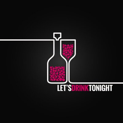 Sticker wine bottle glass line design background 8 eps