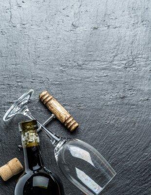 Sticker Wine bottle, wine glass and corkscrew on the graphite board.
