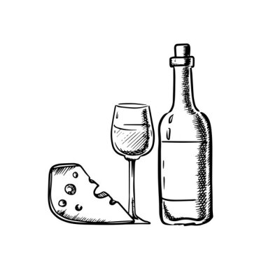 Sticker Wine bottle with glass and cheese