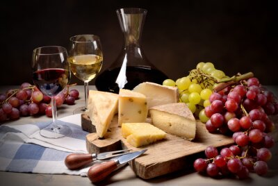 Sticker Wine, grapes and cheese