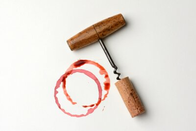 Sticker Wine Stain and Antique Corkscrew