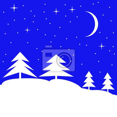 Sticker Winter forest landscape. Vector illustration.