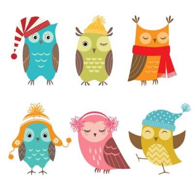 Sticker Winter owls