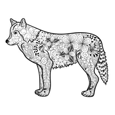 Sticker Wolf doodle
