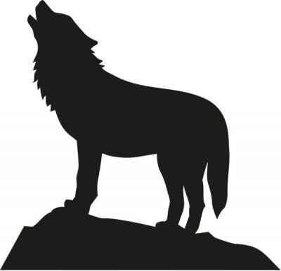 Sticker Wolf standing and howling