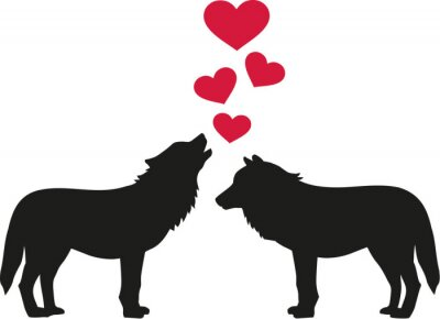 Sticker Wolves in love